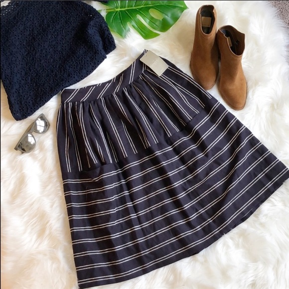 Anthropologie Dresses & Skirts - NWT MAEVE Navy striped midi skirt with POCKETS❤️